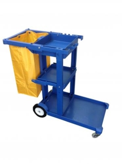 TROLLEY Janitor Cart Blue c/w Yellow Bag (Filt)