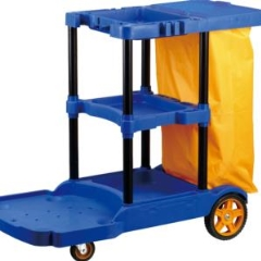 TROLLEY Janitor Cart Blue c/w Yellow Bag PURE